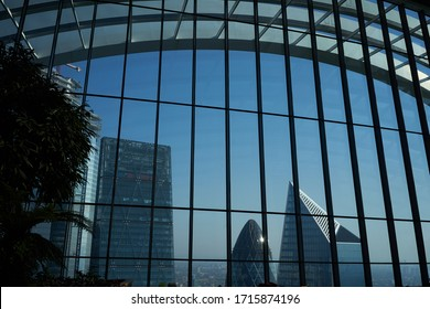 London, Great Britain - April 19, 2019 -  The Sky Garden's viewing gallery on the 43rd floor of the Walkie Talkie offers panoramic views over London from their foliage-filled atrium.