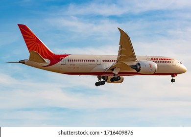London, Great Britain - August 01, 2018: Air India Boeing 787-8 Dreamliner airplane at London Heathrow airport (LHR) in Great Britain. Boeing is an aircraft manufacturer based in Seattle, Washington.