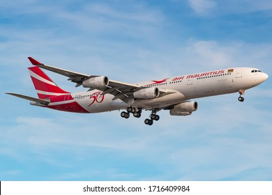 London, Great Britain - August 01, 2018: Air Mauritius Airbus A340-300 airplane at London Heathrow airport (LHR) in Great Britain. Airbus is an aircraft manufacturer based in Toulouse, France.