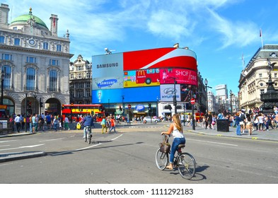 London, Great Britain - August 02, 2015: Scene of city life at Piccadilly Circus in London