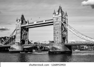 London, Great Britain - August 1, 2015: Black and white photo of the Tower Bridge.