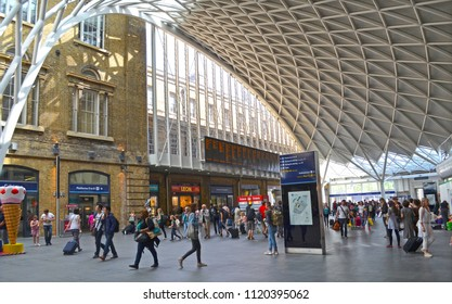 London, Great Britain - August 2, 2015: Activities at Kings Cross St Pancras with shops and travelers