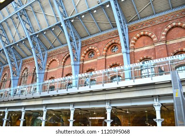 London, Great Britain - August 2, 2015: Historical facade and structural steelwork in Kings Cross St Pancras
