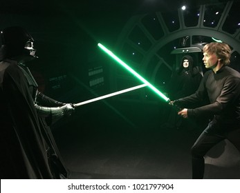 London, Great Britain, England - 08/11/2017: Madame Tussaud Museum,  wax figure of Darth Vader and Luke Skywalker in the reconstruction of the Star Wars set.