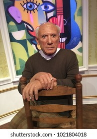 London, Great Britain, England - 08/11/2017: Madame Tussaud Museum,  wax figure of Pablo Picasso, a world-renowned Spanish painter, sculptor and lithographer.