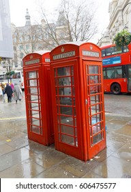 LONDON, GREAT BRITAIN - FEB 27, 2017: Red phone booth in the city. February 27, 2017 in London, Great Britain