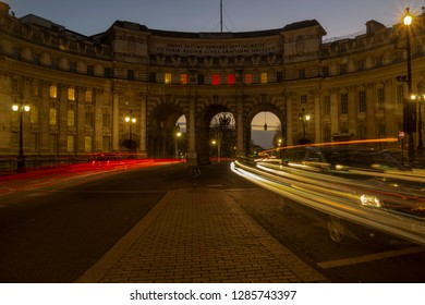 London / Great Britain - Jan 4 2017: Admiralty Arch near Trafalgar Square in London as the entrance to The Mall. An evening shot with light streaks
