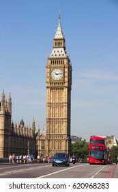 LONDON, GREAT BRITAIN - JUL 1, 2015: View from the Westminster Bridge on the Big Ben in London.