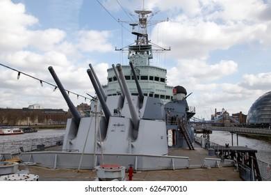 LONDON, GREAT BRITAIN - MARCH 3, 2017: HMS Belfast museum ship in London