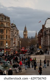 LONDON, GREAT BRITAIN - MARCH 4, 2017: Big Ben view from the Trafalgar Square at the evening