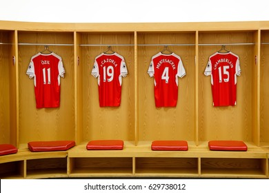LONDON, GREAT BRITAIN - MARCH 4, 2017: Home changing room of the Emirates Stadium