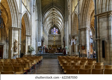LONDON, GREAT BRITAIN - MAY 13, 2014: This is interior of the Southwark Cathedral, which was built in the Middle Ages.