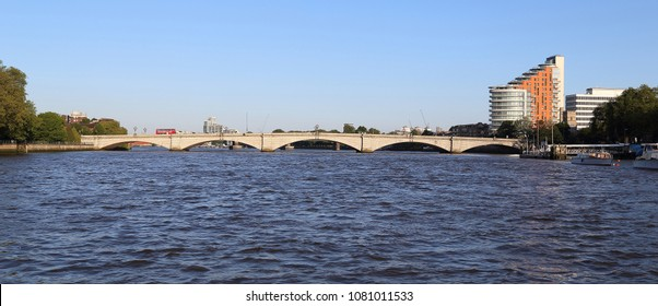 LONDON, GREAT BRITAIN - MAY 18, 2014: The Putney Bridge is a bridge over the River Thames in western part of city.