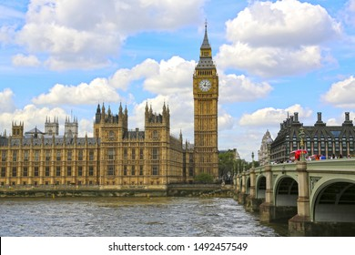 London, Great Britain -May 22, 2016: Nice view of Big Ben (Elizabeth tower) and Westminster Palace, the Houses of Parliament, the Parliament of the United Kingdom