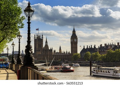 LONDON, GREAT BRITAIN - MAY 9, 2014: This is view of the Parliament of Great Britain from Queen's Walk..