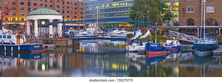 LONDON, GREAT BRITAIN - SEPTEMBER 14, 2017:  The St. Katharine docks in morning light.