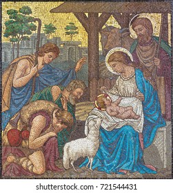 LONDON, GREAT BRITAIN - SEPTEMBER 17, 2017: The mosaic of The Adoration of Shepherds in church St. Barnabas by Bodley and Garner (end of 19. cent.).