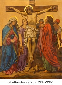 LONDON, GREAT BRITAIN - SEPTEMBER 17, 2017: The Crucifixion painting as the Station of the Cross in church of St. James Spanish Place by M. Jacob (1873).