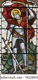 LONDON, GREAT BRITAIN - SEPTEMBER 17, 2017: The St. George on the stained glass in church St. Michael, Chester square.