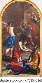 LONDON, GREAT BRITAIN - SEPTEMBER 17, 2017: The painting of Decapitation of St. John the Baptist in St. Peter Italian church by Alessandro Turchi (1640).