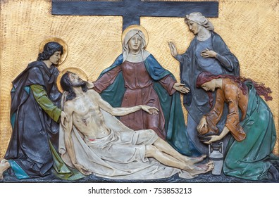 LONDON, GREAT BRITAIN - SEPTEMBER 17, 2017: The relief Deposition of the cross (Pieta) in church St. Marys Pimlico by unknown artisto from begin of 20. cent.