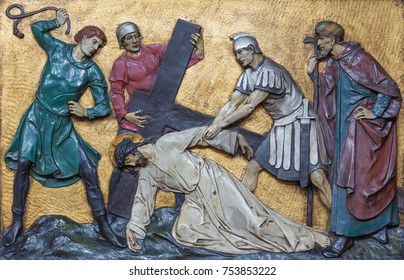 LONDON, GREAT BRITAIN - SEPTEMBER 17, 2017: The relief Jesus fall under cross  in church St. Marys Pimlico by unknown artisto from begin of 20. cent.