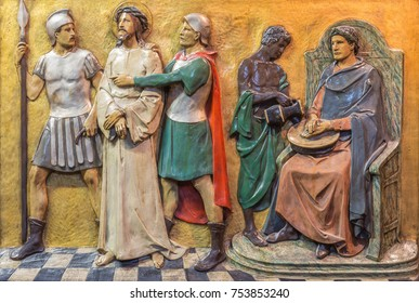 LONDON, GREAT BRITAIN - SEPTEMBER 17, 2017: The relief Jesus judgment for Pilate  in church St. Marys Pimlico by unknown artisto from begin of 20. cent.