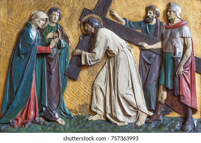 LONDON, GREAT BRITAIN - SEPTEMBER 17, 2017: The relief Jesus meets his mother in church St. Marys Pimlico by unknown artisto from begin of 20. cent.