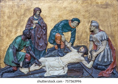 LONDON, GREAT BRITAIN - SEPTEMBER 17, 2017: The relief Jesus is nailed to the cross in church St. Marys Pimlico by unknown artist from begin of 20. cent.