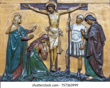LONDON, GREAT BRITAIN - SEPTEMBER 17, 2017: The relief of Crucifixion  in church St. Marys Pimlico by unknown artist from begin of 20. cent.