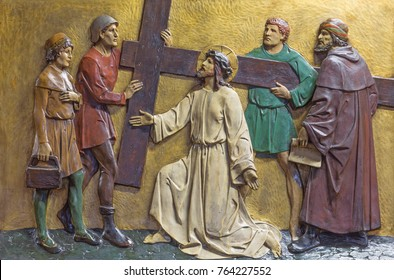LONDON, GREAT BRITAIN - SEPTEMBER 17, 2017: The relief Jesus carries His cross in church St. Marys Pimlico by unknown artisto from begin of 20. cent.