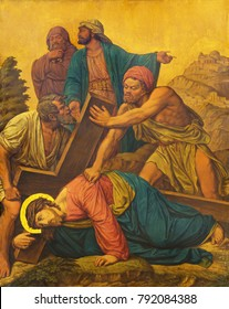 LONDON, GREAT BRITAIN - SEPTEMBER 17, 2017: The painting Jesus fall under the cross as the Station of the Cross in church of St. James Spanish Place by M. Jacob (1873).
