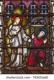 LONDON, GREAT BRITAIN - SEPTEMBER 19, 2017: The apparition of Jesus to St. Paul on Stained glass in St Mary Abbot's church on Kensington High Street.