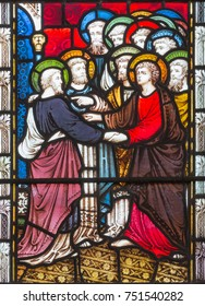 LONDON, GREAT BRITAIN - SEPTEMBER 19, 2017: The St. Paul anong the Apostles on the stained glass in St Mary Abbot's church on Kensington High Street.