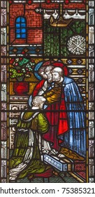 LONDON, GREAT BRITAIN - SEPTEMBER 19, 2017: The Sending of St. Paul on the stained glass in St Mary Abbot's church on Kensington High Street.