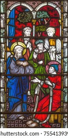 LONDON, GREAT BRITAIN - SEPTEMBER 19, 2017: The prophecy of Agabus (warned Paul of his coming capture) on Stained glass in St Mary Abbot's church on Kensington High Street.