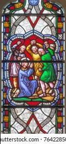 LONDON, GREAT BRITAIN - SEPTEMBER 19, 2017: The Stoning of St. Stephen on the satined glass in church St Stephen's Rochester Row by William Wailes (1808-1881).