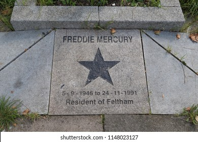 LONDON, GREAT BRITAIN - SEPTEMBER 8, 2014: It is the memorial sign of Freddie Mercury in Feltham.
