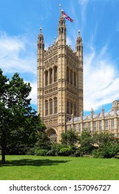 LONDON, GREATER LONDON, ENGLAND - JUNE 30: Victoria Tower and the Palace of Westminster on June 30, 2012 in London, Greater London, England.