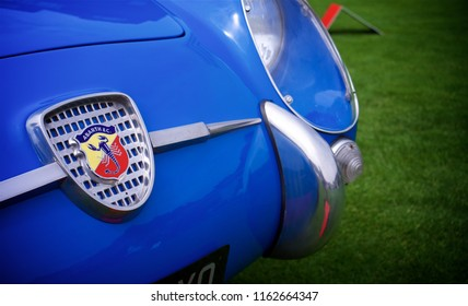 London, Greater London/ UK - 07 06 2018: Detail shot of an Abarth badge on a Fiat Abarth 750 GT