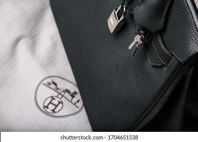London, Greater London / U.K - June 12th 2017: Close up of green leather Hermes Birkin handbag