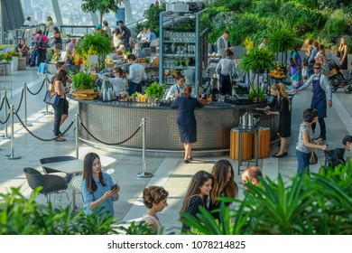 London, Greater London / UK: September 30 2016: Tourists at Sky Bar