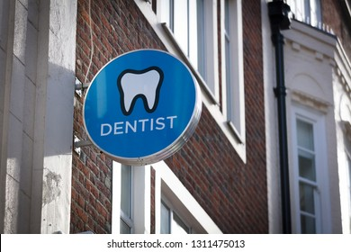 London, Greater London, United Kingdom, 7th February 2018, A sign and logo for the James St Dental Practice