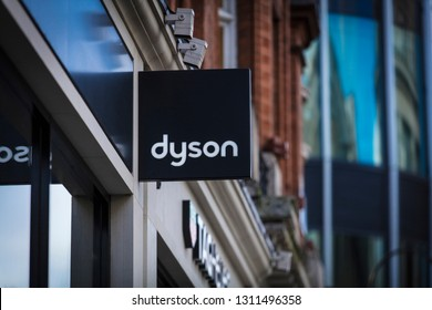 London, Greater London, United Kingdom, 7th February 2018, A sign and logo for Dyson store