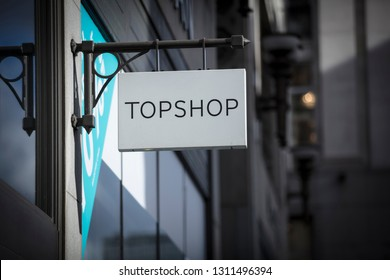 London, Greater London, United Kingdom, 7th February 2018, A sign and logo for Topshop store