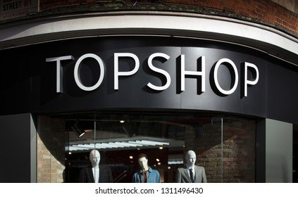 London, Greater London, United Kingdom, 7th February 2018, A sign and logo for Topshop