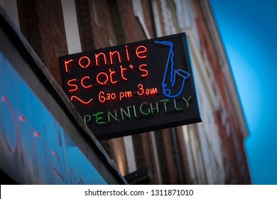 London, Greater London, United Kingdom, 7th February 2018, A sign and logo for ronnie scotts jazz bar in soho