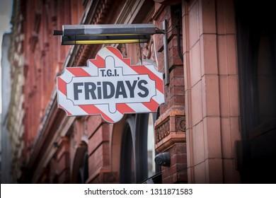 London, Greater London, United Kingdom, 7th February 2018, A sign and logo for TGI Fridays restaurant