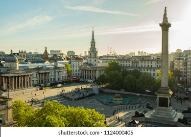 London, Greater London / United Kingdom - May 10 2018: Sunrise over Trafalgar Square seen from a rooftop