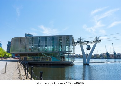 London, Greenwich, UK - May 15th, 2018: Thames Cable Car, Greenwich, southern side station. The sky is blue, also known as Emirates Air Line.